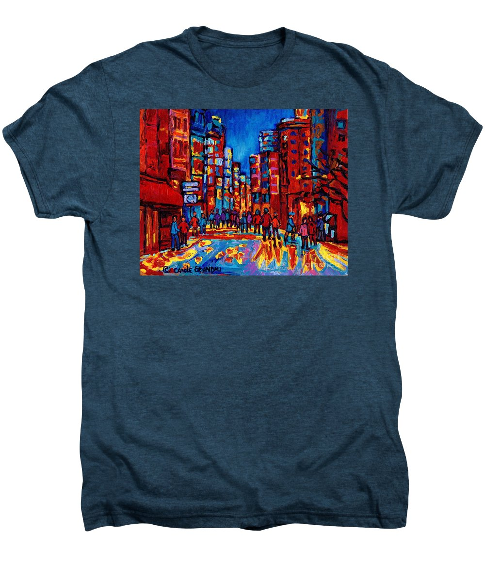 Montreal Men's Premium T-Shirt featuring the painting City After The Rain by Carole Spandau
