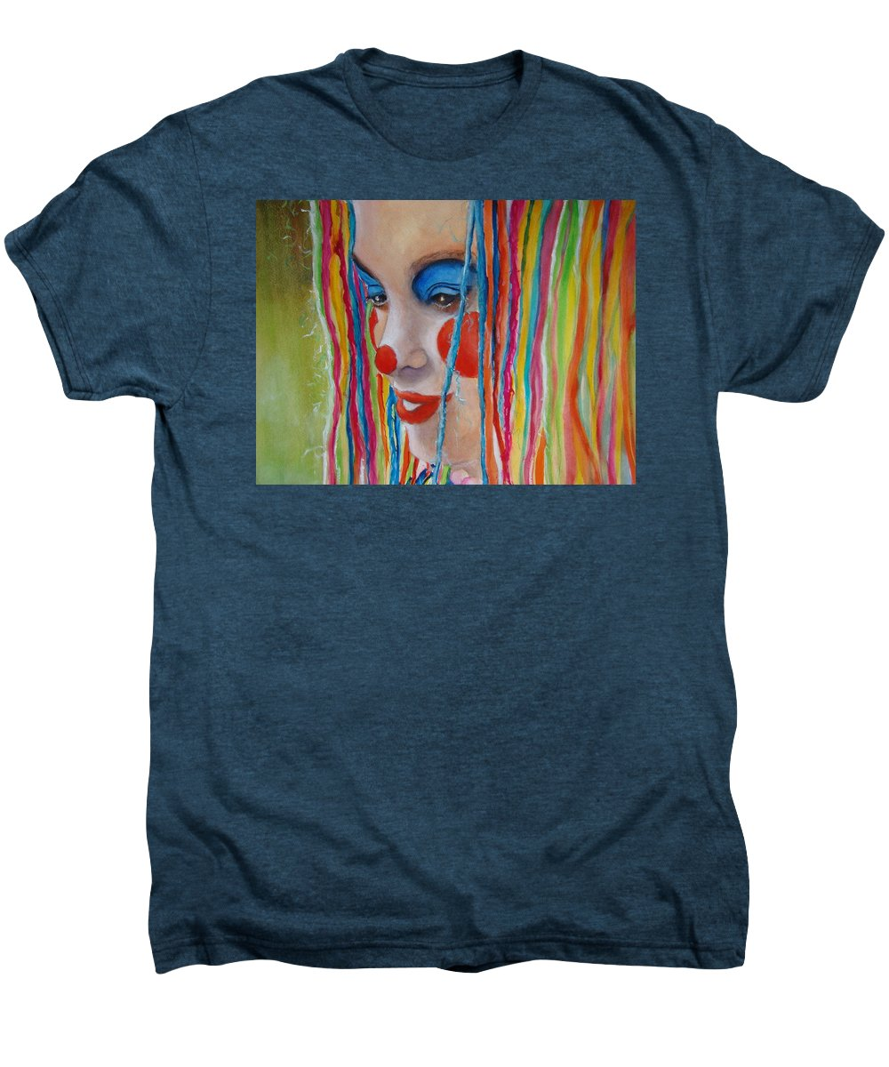 Clowns Men's Premium T-Shirt featuring the painting Complementary by Myra Evans