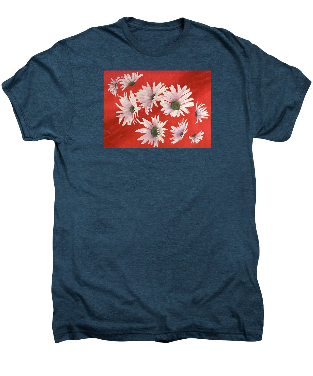 Flowers Men's Premium T-Shirt featuring the painting Daisy Chain by Ruth Kamenev