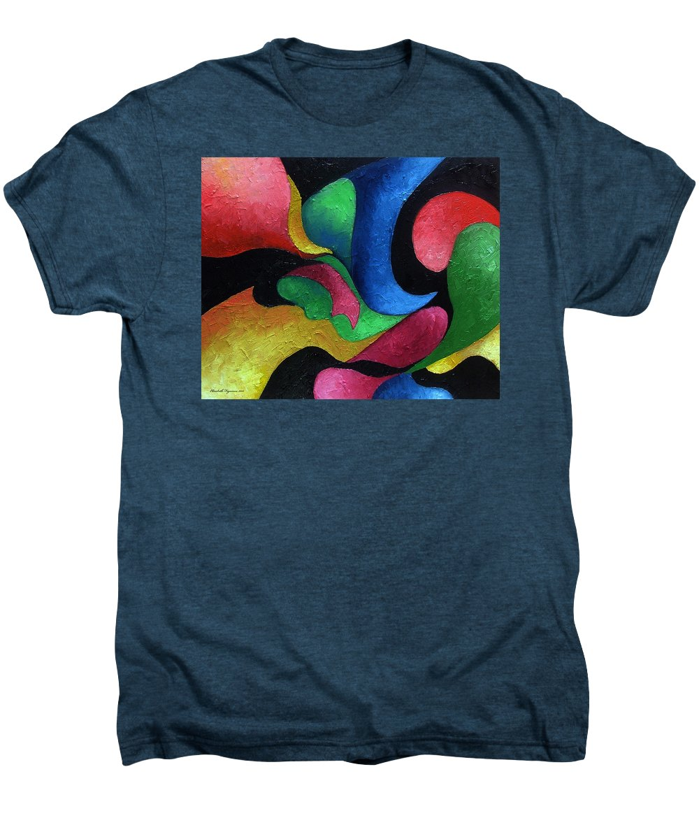 Abstract Men's Premium T-Shirt featuring the painting Dance With Me by Elizabeth Lisy Figueroa
