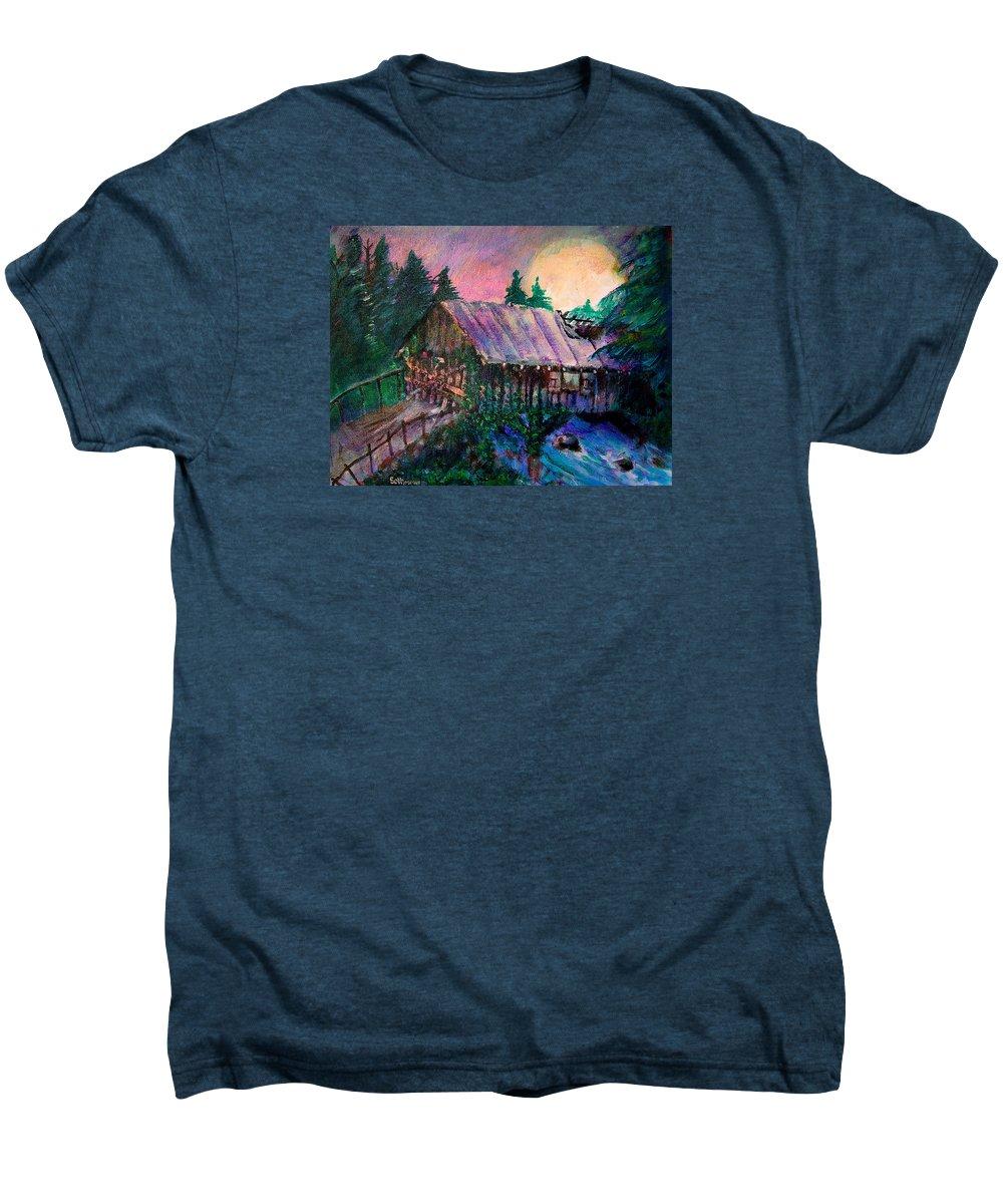 Dangerous Bridge Men's Premium T-Shirt featuring the painting Dangerous Bridge by Seth Weaver
