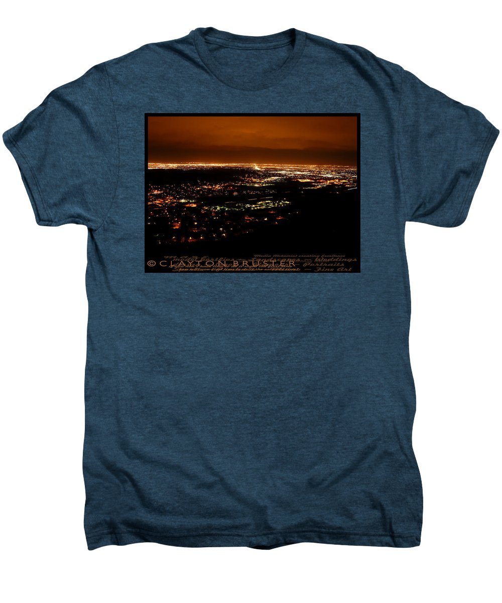 Clay Men's Premium T-Shirt featuring the photograph Denver Area At Night From Lookout Mountain by Clayton Bruster