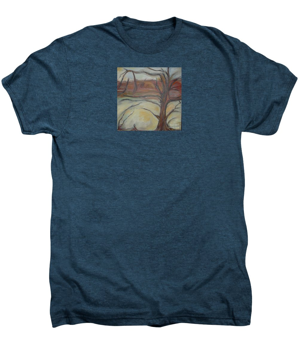Woods Tree Abstract Original Painting Winter Men's Premium T-Shirt featuring the painting Drift by Leila Atkinson