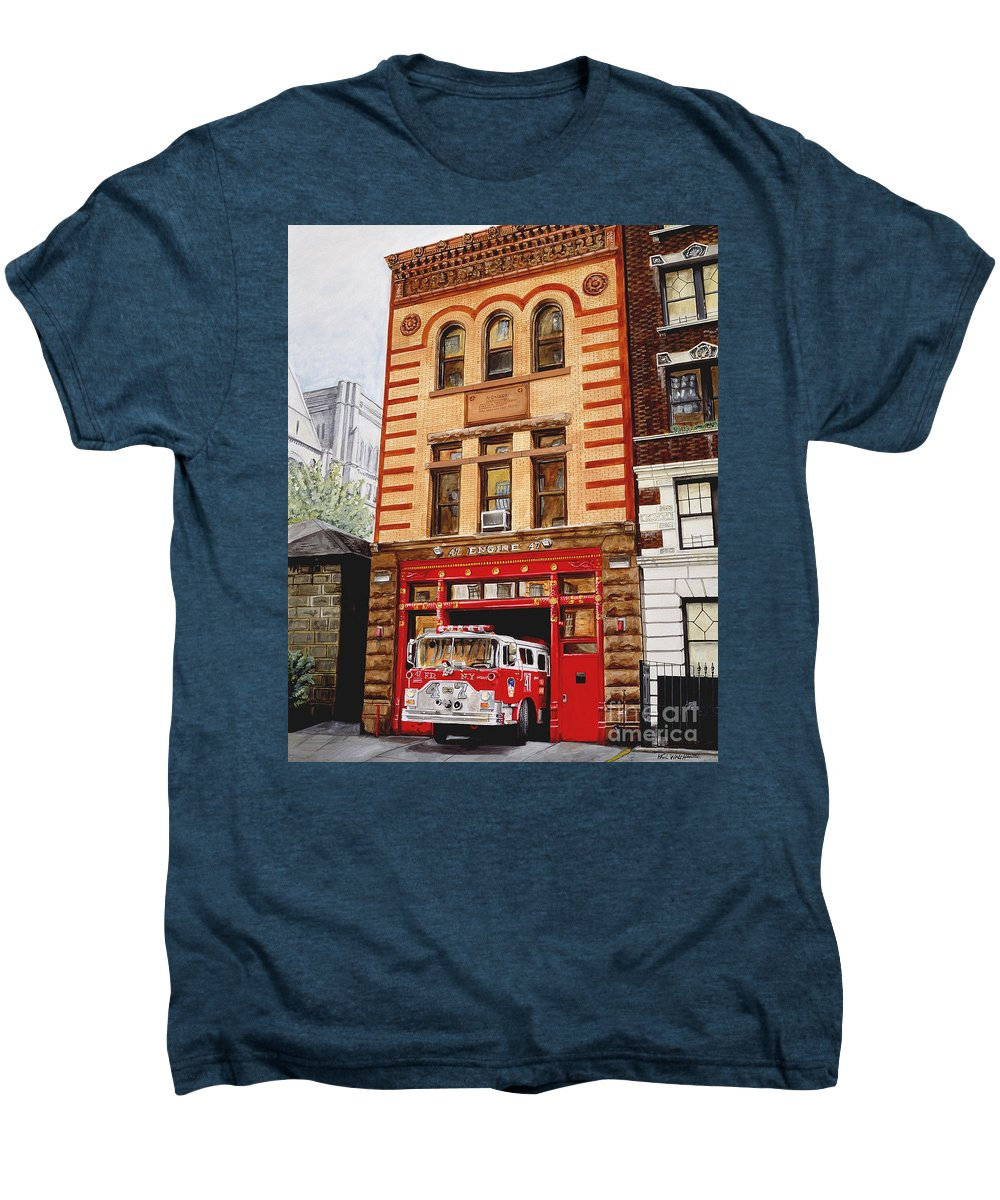 Firehouse Men's Premium T-Shirt featuring the painting Engine Company 47 by Paul Walsh