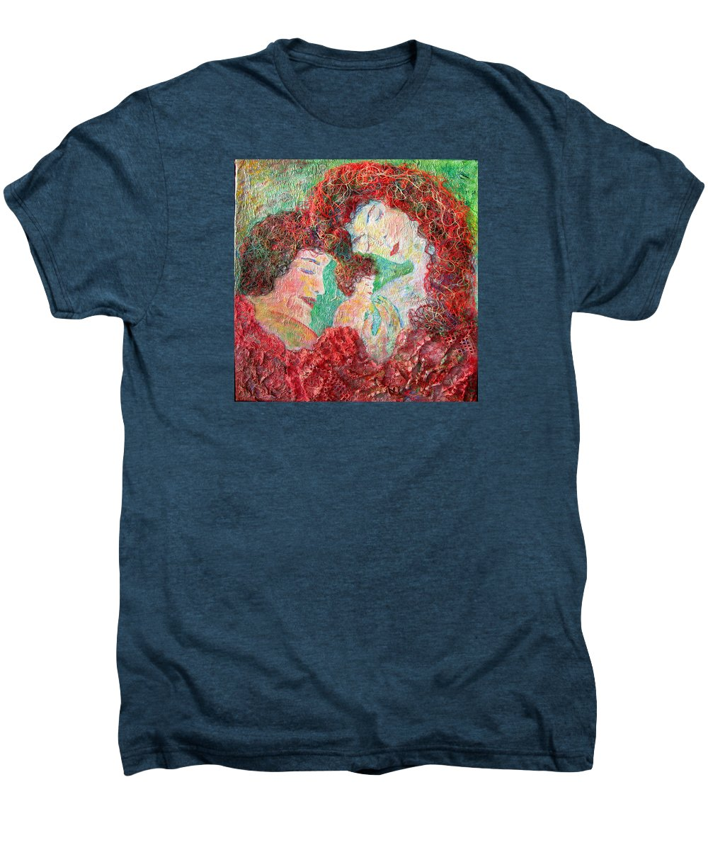 Mother Men's Premium T-Shirt featuring the painting Family Safety by Naomi Gerrard