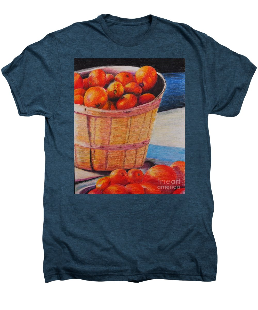 Produce In A Basket Men's Premium T-Shirt featuring the drawing Farmers Market Produce by Nadine Rippelmeyer