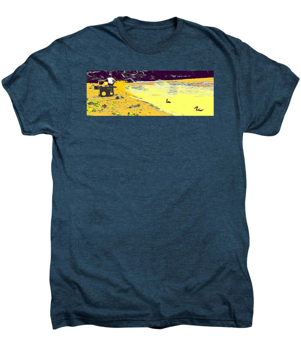 St Kitts Men's Premium T-Shirt featuring the photograph Feeding The Pelicans by Ian MacDonald