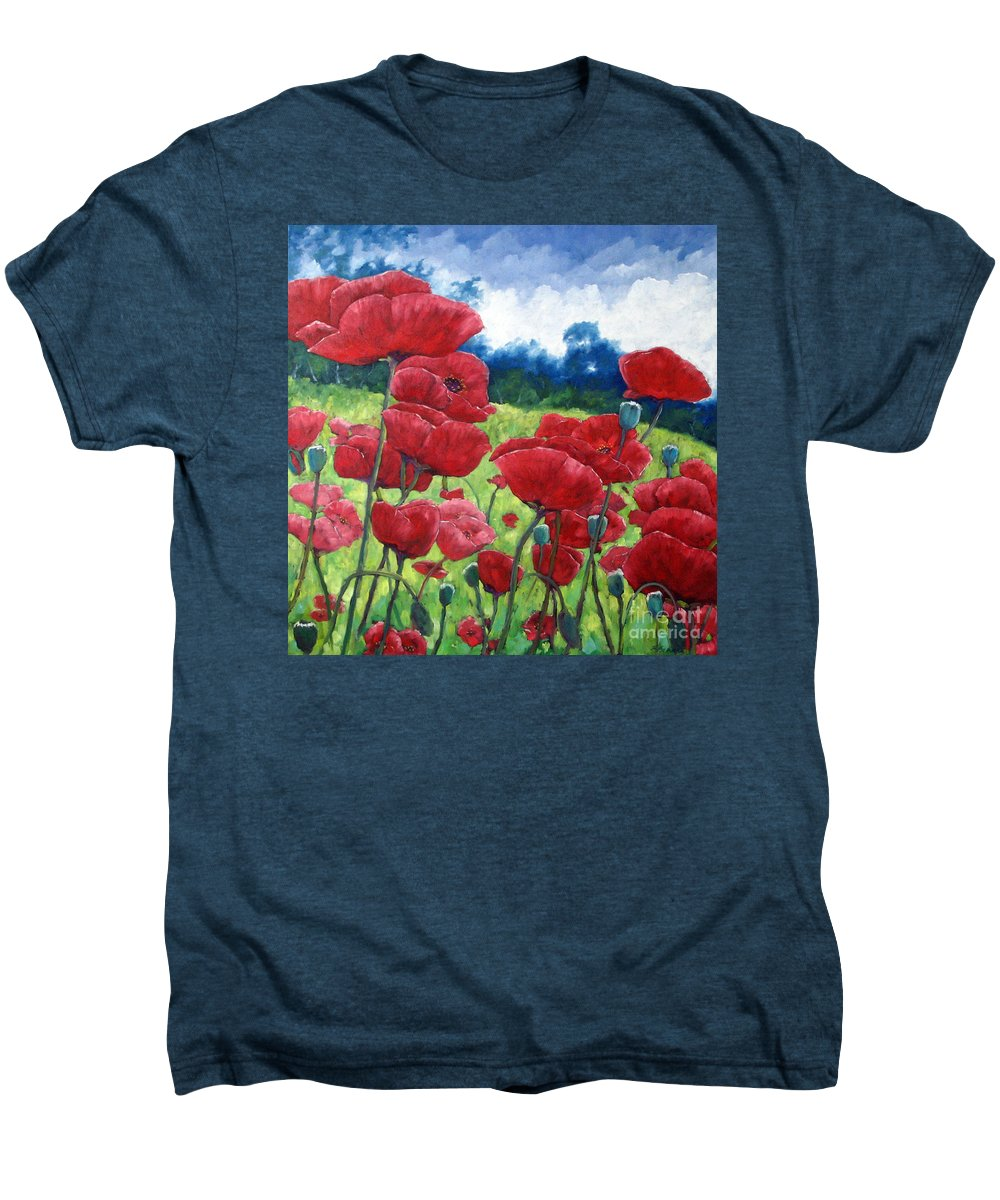 Poppies Men's Premium T-Shirt featuring the painting Field Of Poppies by Richard T Pranke