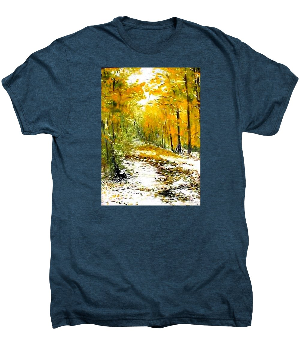 Landscape Men's Premium T-Shirt featuring the painting First Snow by Boris Garibyan