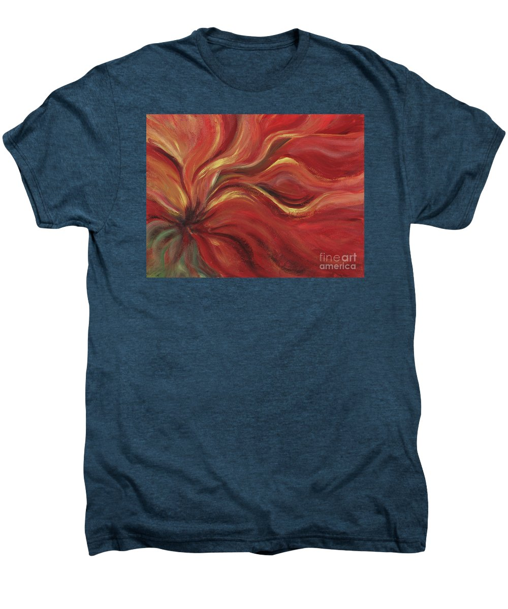 Red Men's Premium T-Shirt featuring the painting Flaming Flower by Nadine Rippelmeyer