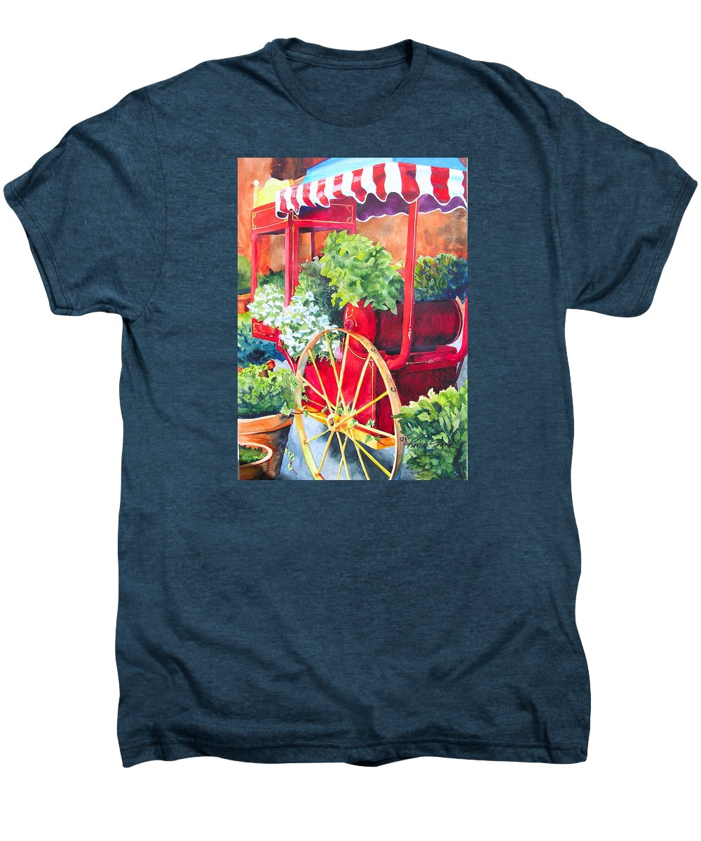 Floral Men's Premium T-Shirt featuring the painting Flower Wagon by Karen Stark