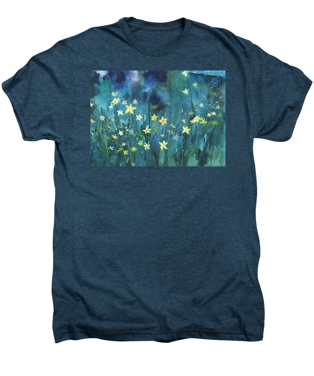 Landscape Men's Premium T-Shirt featuring the painting Flowers N Breeze by Anil Nene