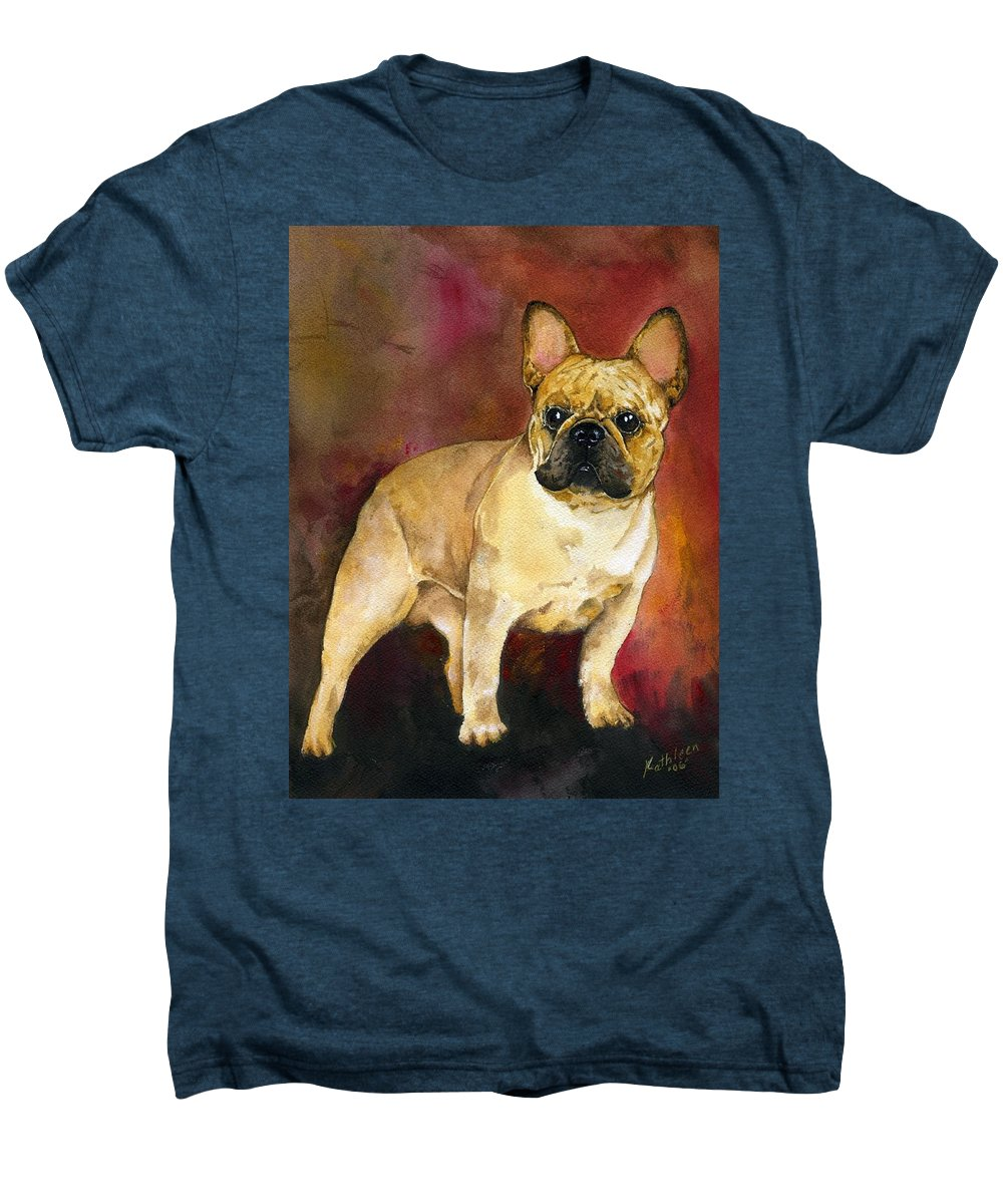 French Bulldog Men's Premium T-Shirt featuring the painting French Bulldog by Kathleen Sepulveda