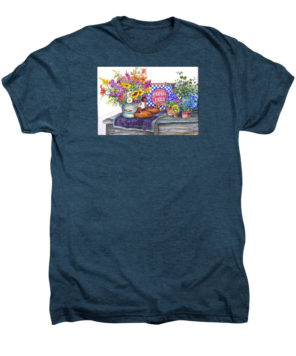 Watercolor;ducks;decoys;floral;mixed Bouquet;potted Plants;checkerboard;quilt; Men's Premium T-Shirt featuring the painting Fresh Eggs by Lois Mountz