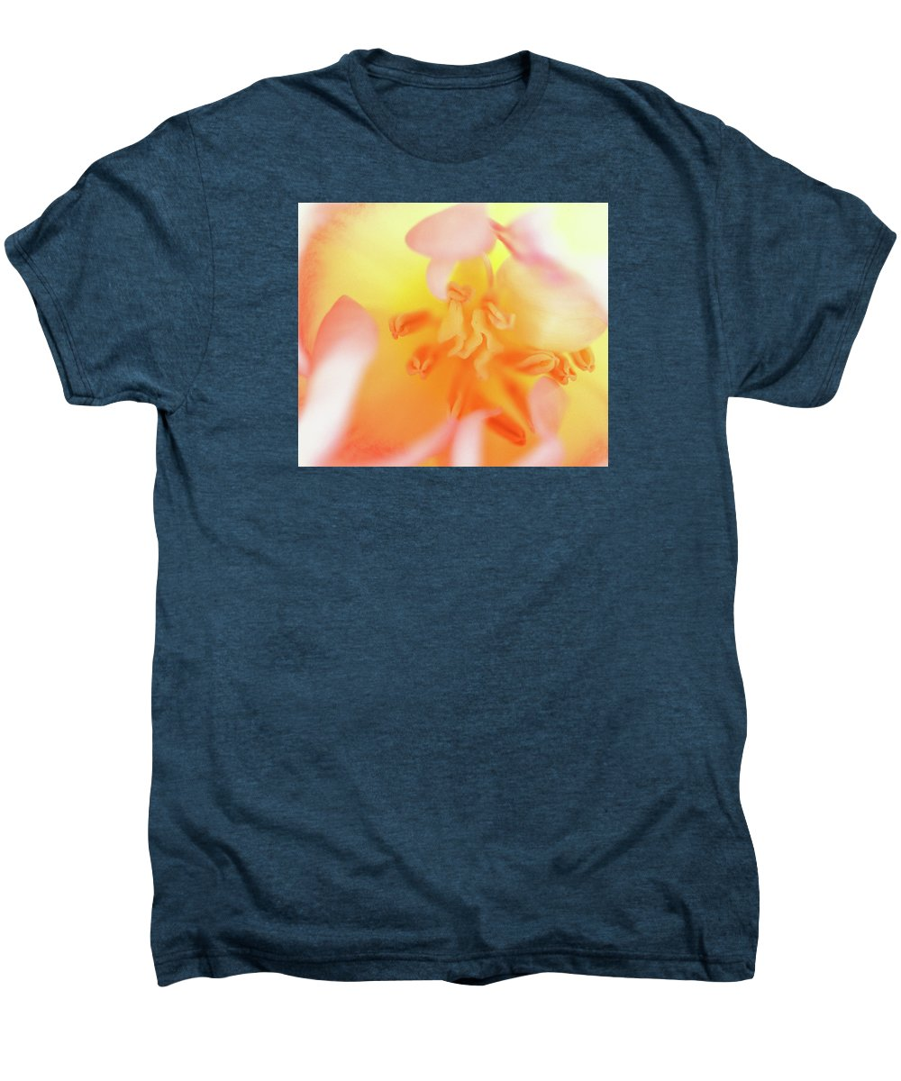 Internal Beauty Of A Tulip Men's Premium T-Shirt featuring the photograph From The Heart by Bill Morgenstern