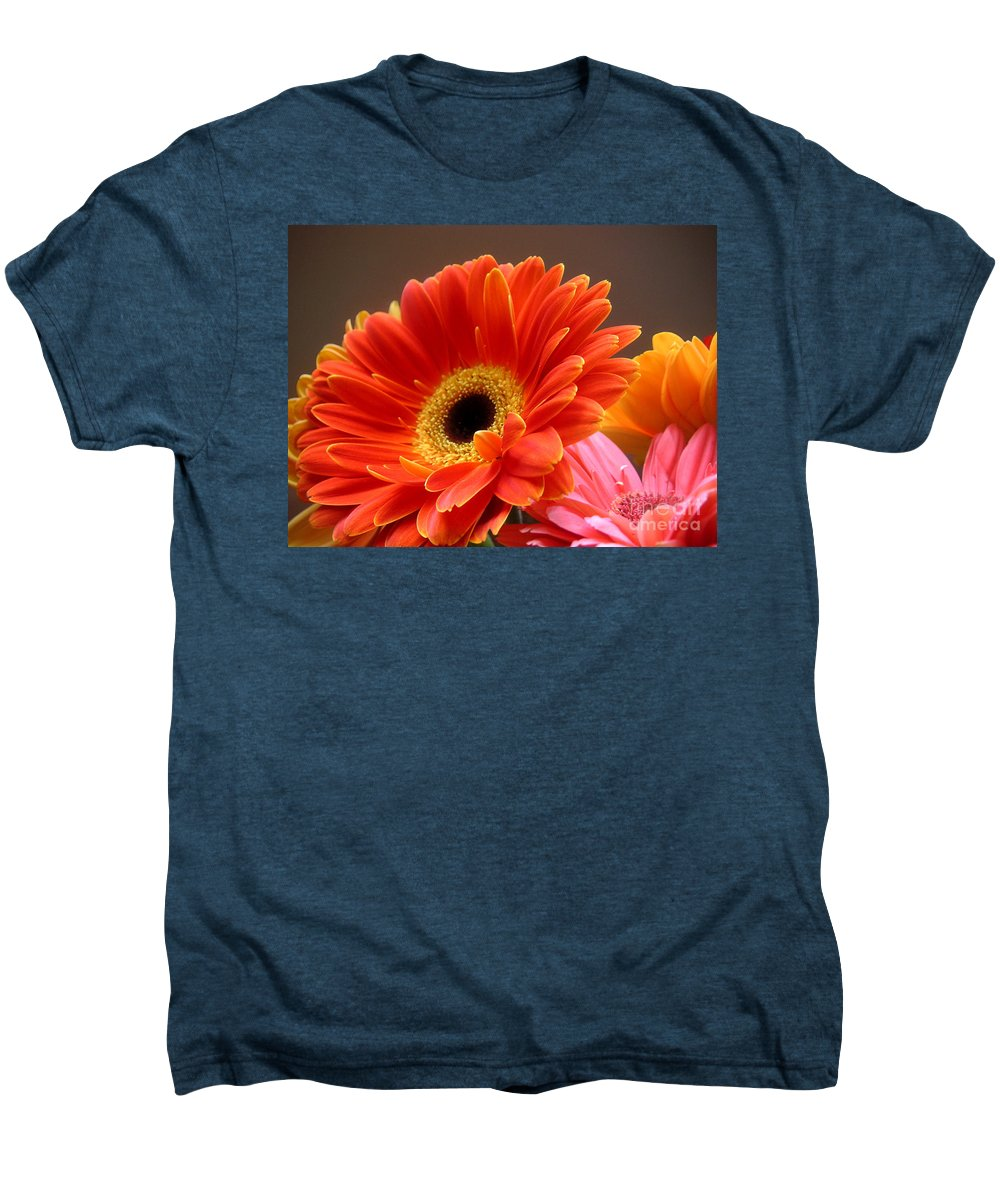Nature Men's Premium T-Shirt featuring the photograph Gerbera Daisies - Luminous by Lucyna A M Green