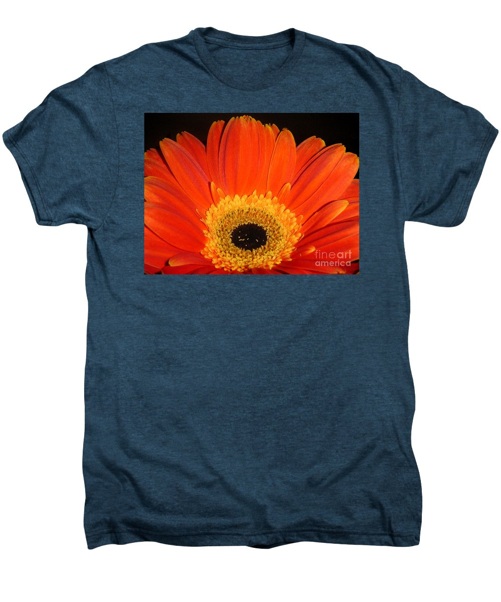 Nature Men's Premium T-Shirt featuring the photograph Gerbera Daisy - Glowing In The Dark by Lucyna A M Green
