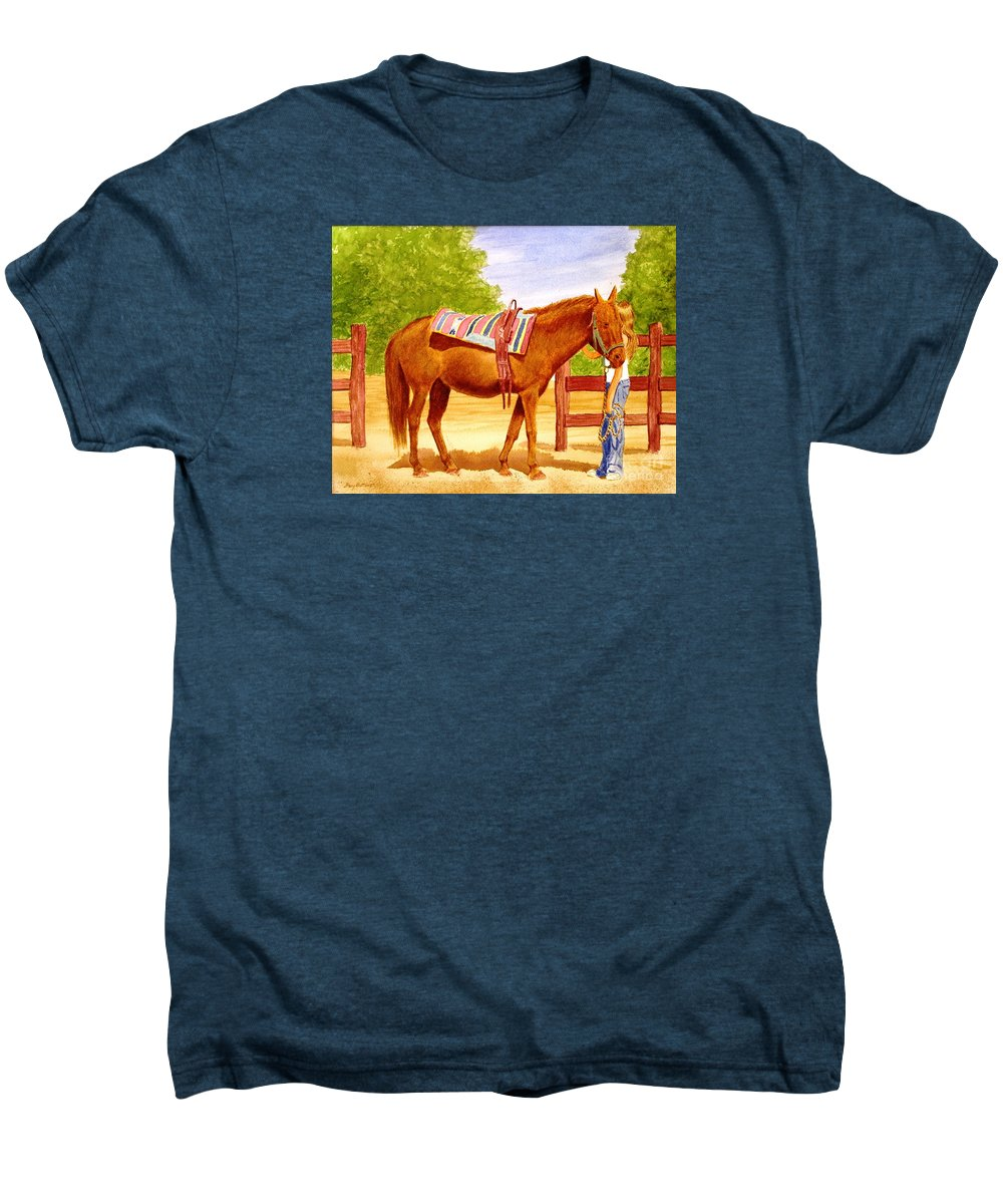 Equine Men's Premium T-Shirt featuring the painting Girl Talk by Stacy C Bottoms