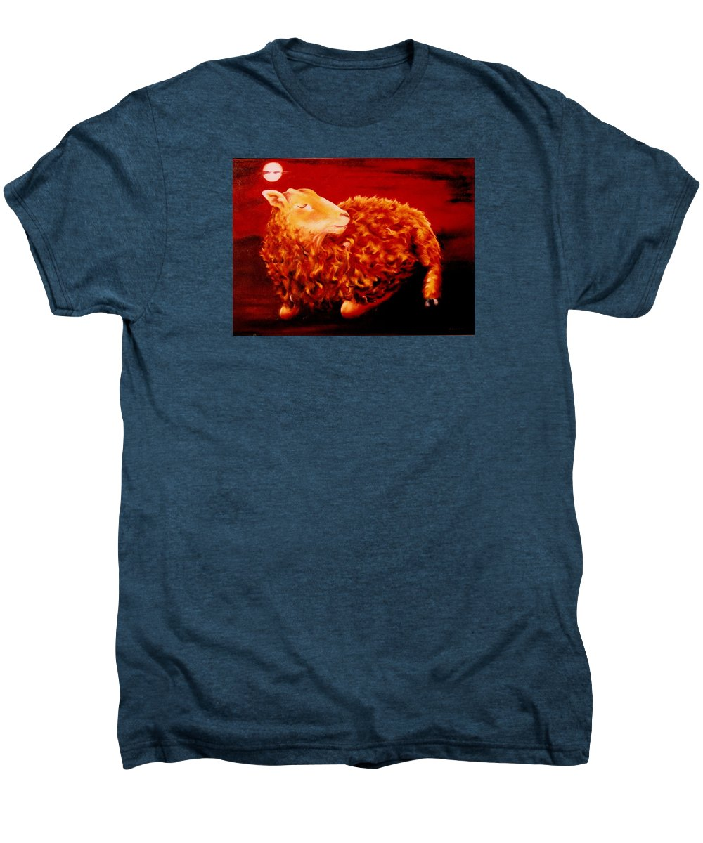 Sunset Men's Premium T-Shirt featuring the painting Golden Fleece by Mark Cawood
