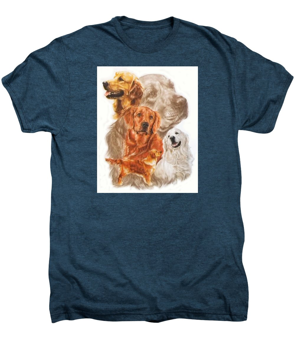 Dog Men's Premium T-Shirt featuring the mixed media Golden Retriever W/ghost by Barbara Keith