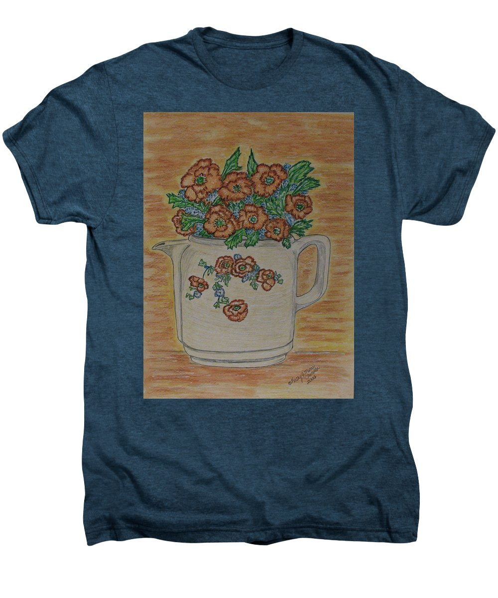 Hall China Men's Premium T-Shirt featuring the painting Hall China Orange Poppy And Poppies by Kathy Marrs Chandler
