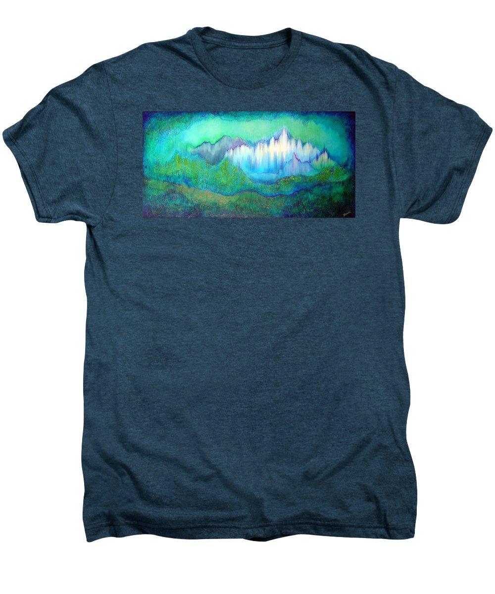 Blue Men's Premium T-Shirt featuring the painting Into The Ocean by Shadia Derbyshire