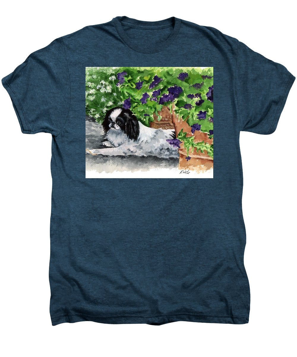 Japanese Chin Men's Premium T-Shirt featuring the painting Japanese Chin Puppy And Petunias by Kathleen Sepulveda