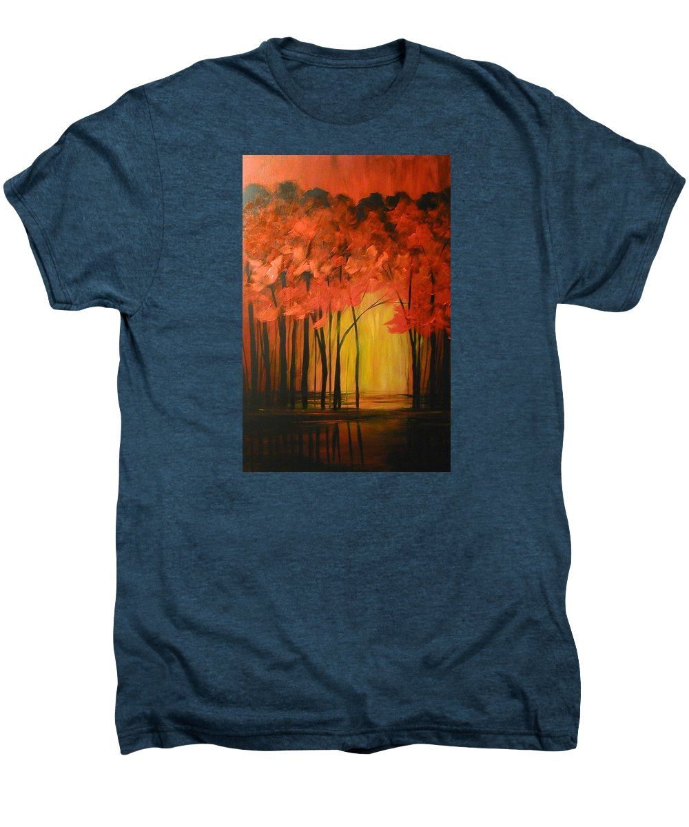 Abstract Men's Premium T-Shirt featuring the painting Japanese Forest by Sabina Surya Naya