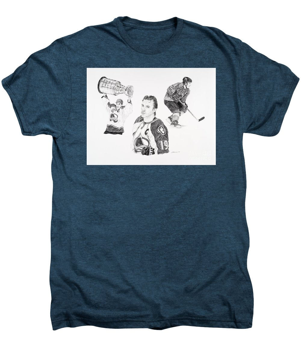 Hockey Men's Premium T-Shirt featuring the drawing Joe Sakic by Shawn Stallings