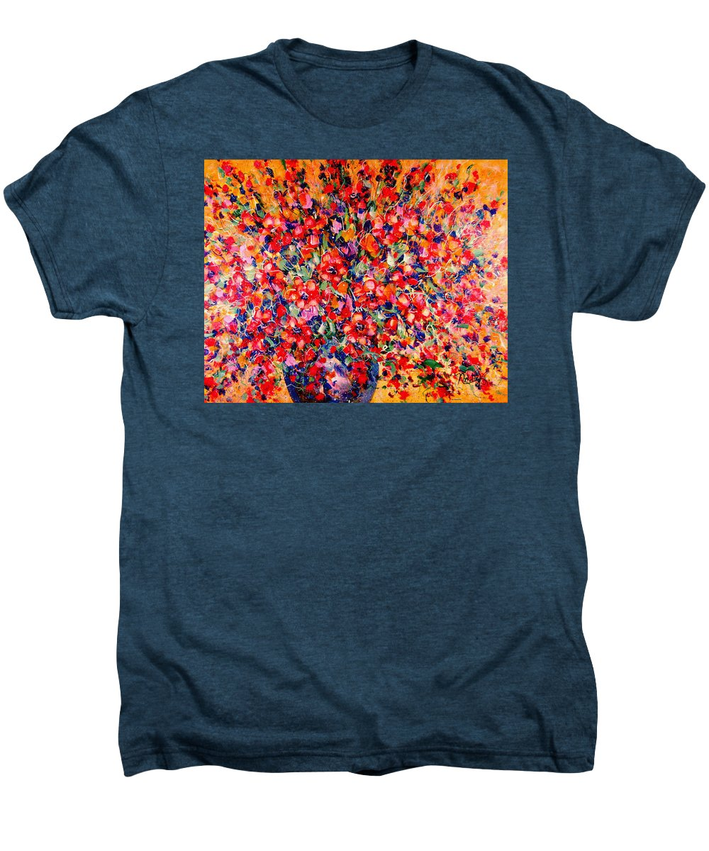 Flowers Men's Premium T-Shirt featuring the painting Joy Of Summer by Natalie Holland