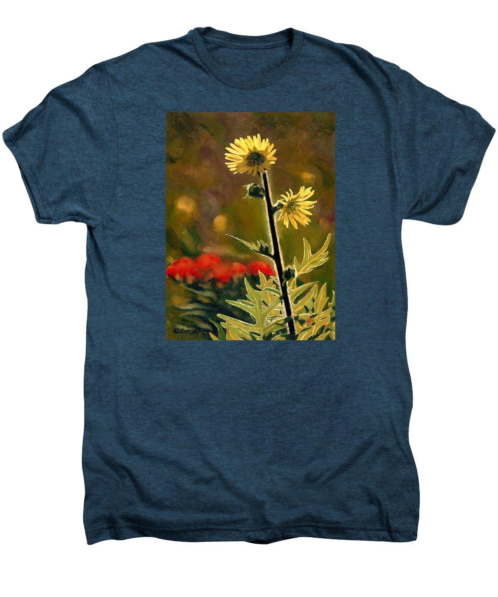 Prairie Flowers Men's Premium T-Shirt featuring the painting July Afternoon-compass Plant by Bruce Morrison