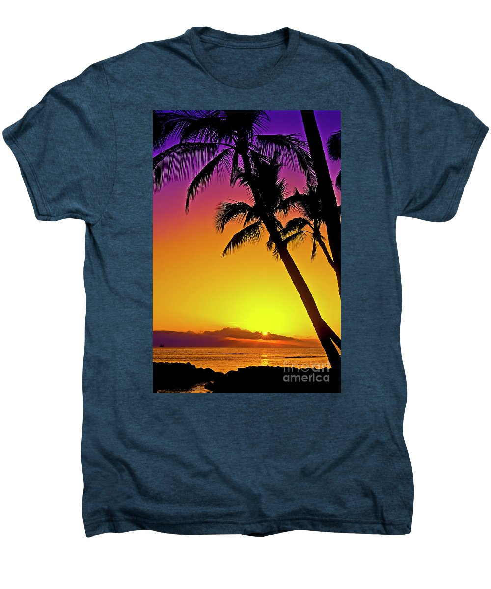 Sunset Men's Premium T-Shirt featuring the photograph Lanai Sunset II Maui Hawaii by Jim Cazel