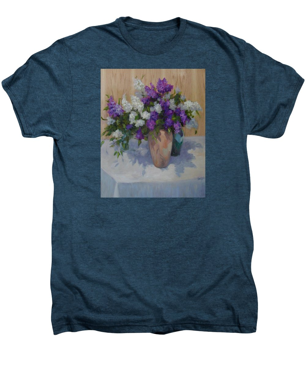 Lilacs Men's Premium T-Shirt featuring the painting Lilacs by Patricia Kness