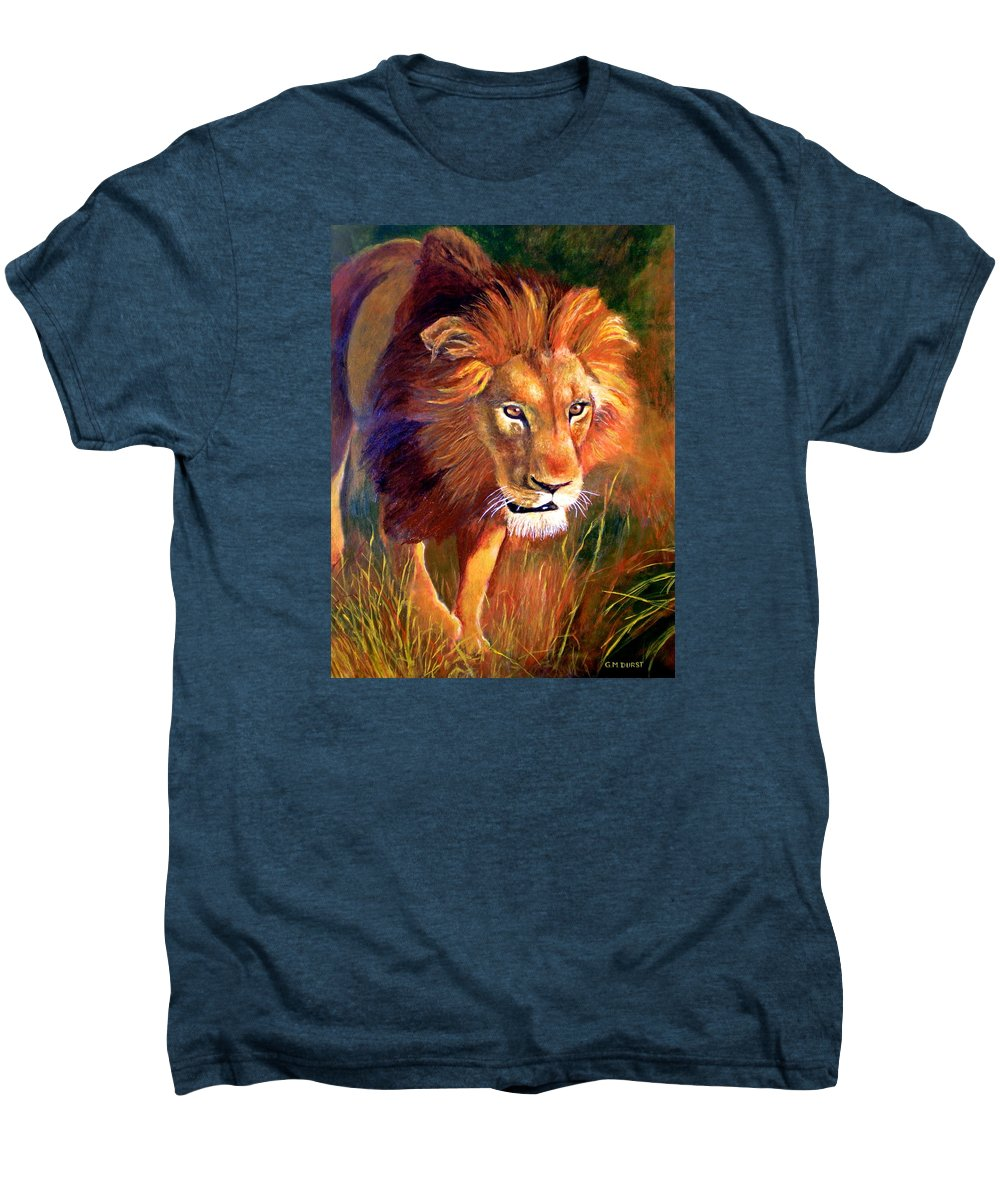 Lion Men's Premium T-Shirt featuring the painting Lion At Sunset by Michael Durst