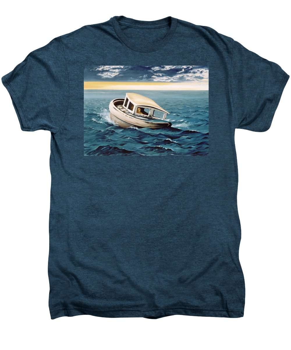 Seascape Men's Premium T-Shirt featuring the painting Lost At Sea by Mark Cawood