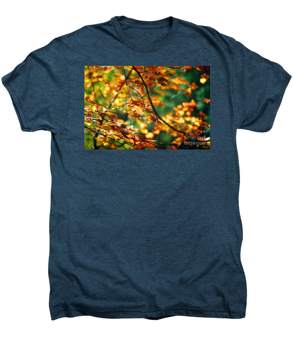 Fall Color Men's Premium T-Shirt featuring the photograph Lost In Leaves by Kathy McClure