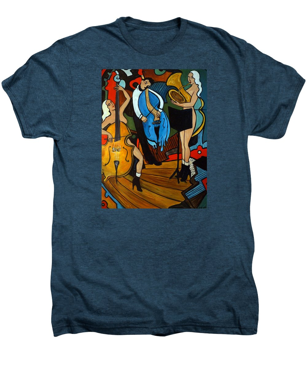 Musician Abstract Men's Premium T-Shirt featuring the painting Melting Jazz by Valerie Vescovi