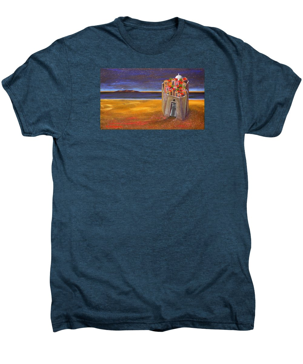Superrealism Men's Premium T-Shirt featuring the painting Mesi Castle Village by Dimitris Milionis
