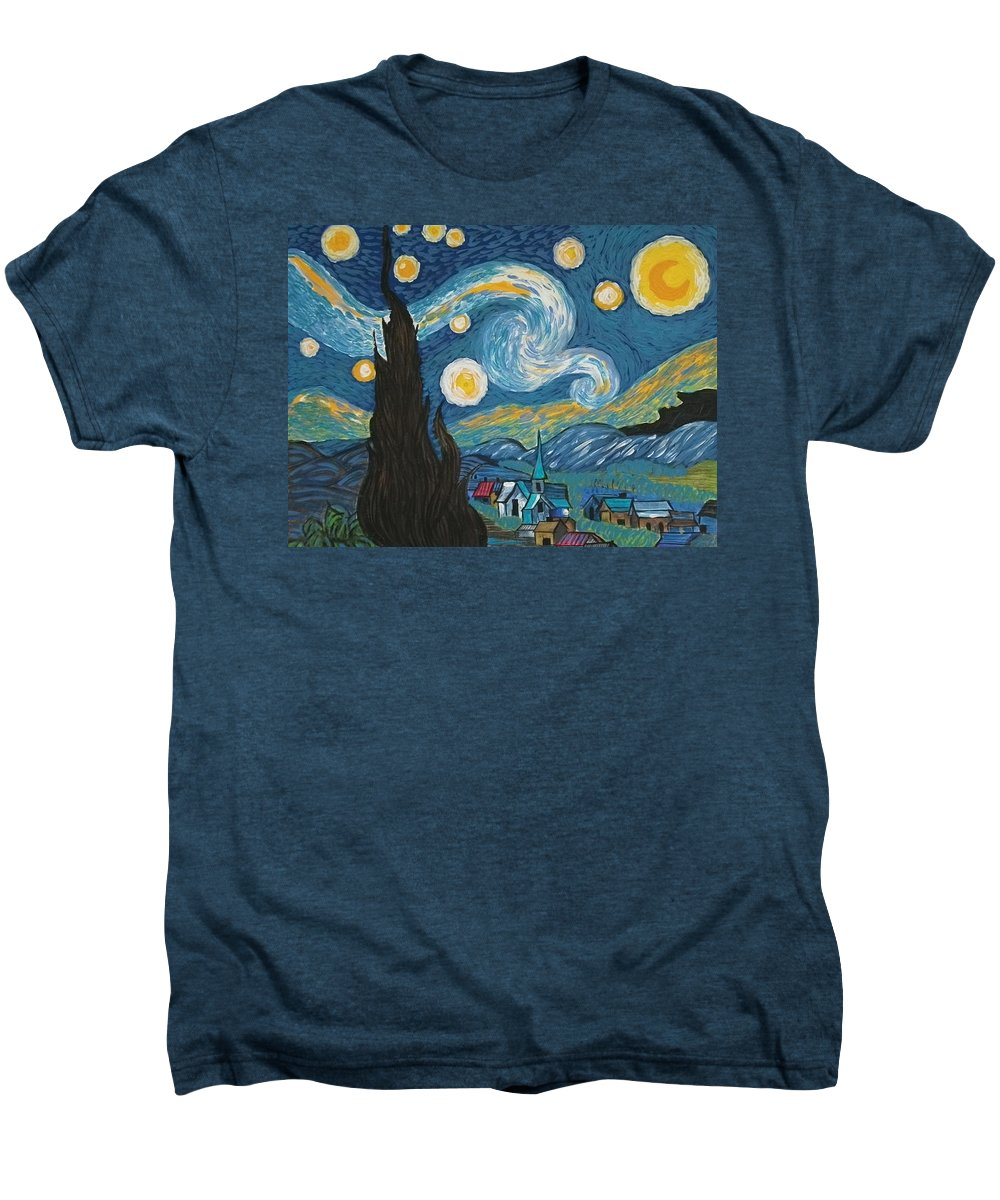 Vincent Men's Premium T-Shirt featuring the painting My Starry Nite by Angela Miles Varnado