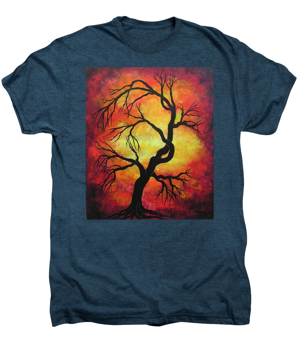 Acrylic Men's Premium T-Shirt featuring the painting Mystic Firestorm by Jordanka Yaretz