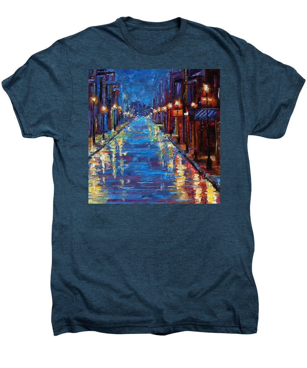 Cityscape Men's Premium T-Shirt featuring the painting New Orleans Bourbon Street by Debra Hurd