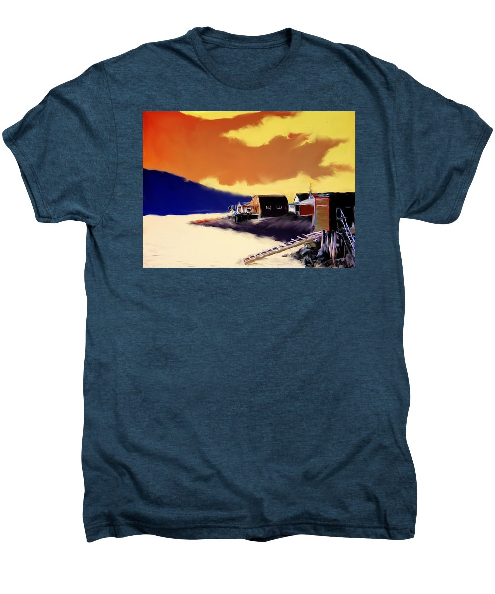 Newfoundland Men's Premium T-Shirt featuring the photograph Newfoundland Fishing Shacks by Ian MacDonald