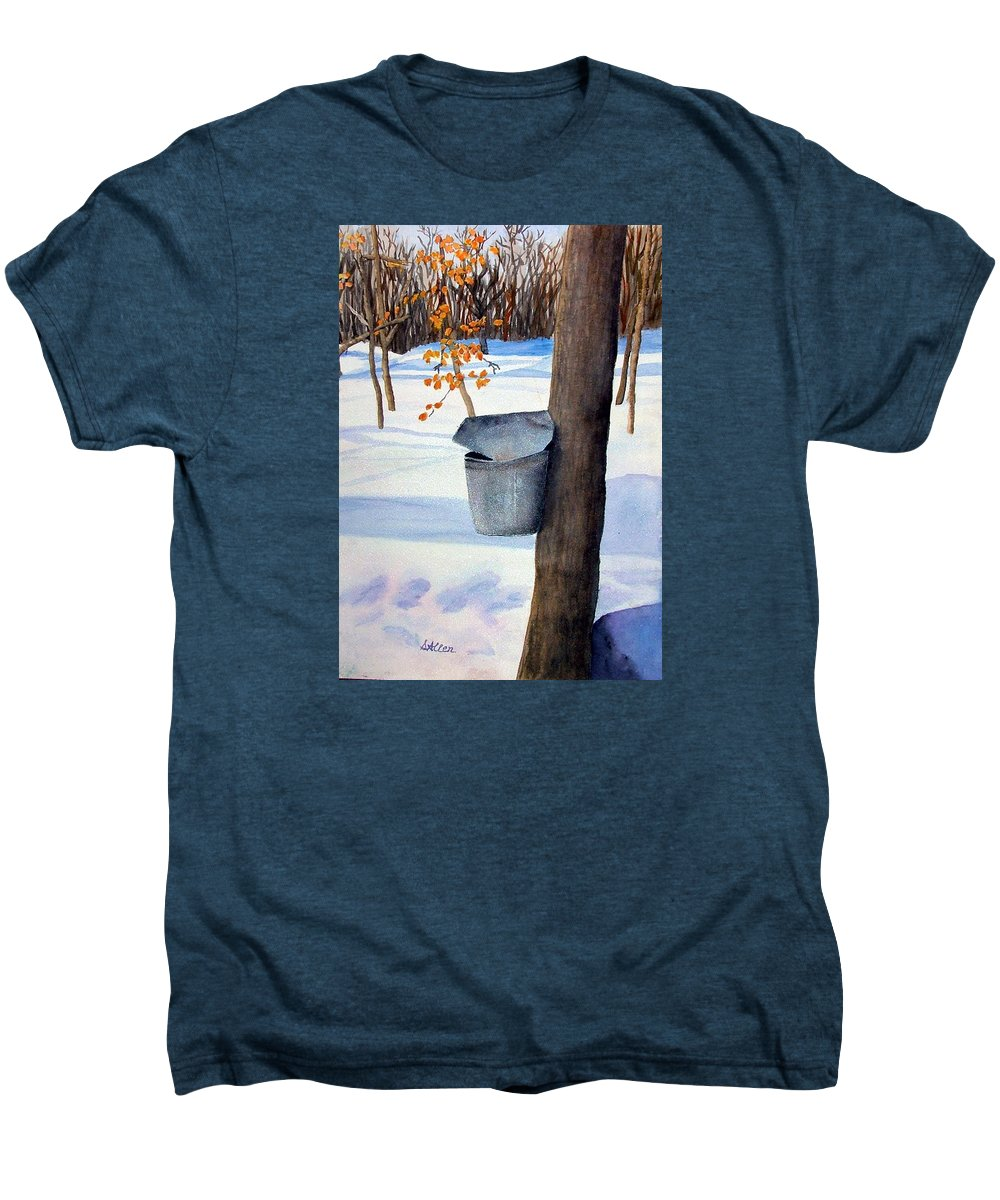 Sap Bucket. Maple Sugaring Men's Premium T-Shirt featuring the painting Nh Goldmine by Sharon E Allen