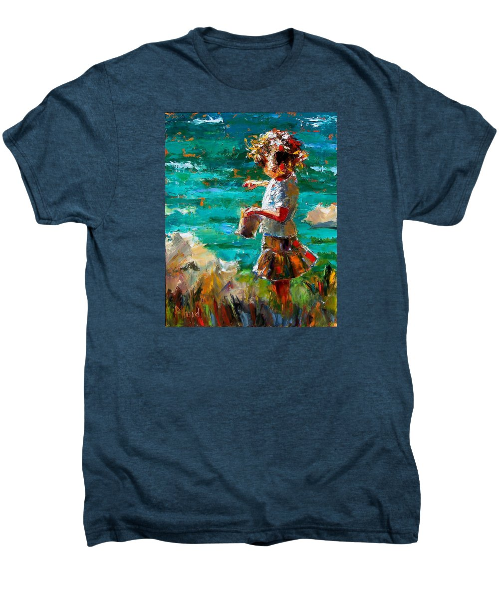 Children Men's Premium T-Shirt featuring the painting One At A Time by Debra Hurd