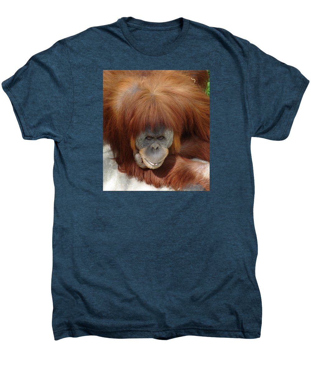 Red Ape Eyes Men's Premium T-Shirt featuring the photograph Orangutan by Luciana Seymour