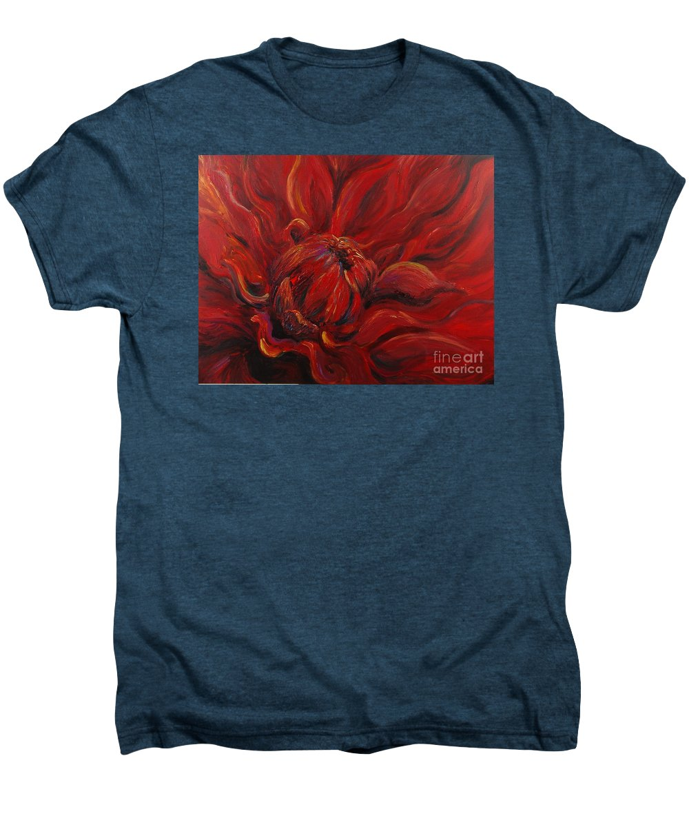 Red Men's Premium T-Shirt featuring the painting Passion II by Nadine Rippelmeyer