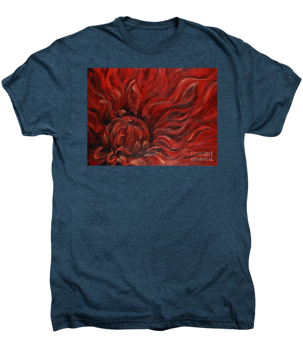 Flower Men's Premium T-Shirt featuring the painting Passion Iv by Nadine Rippelmeyer