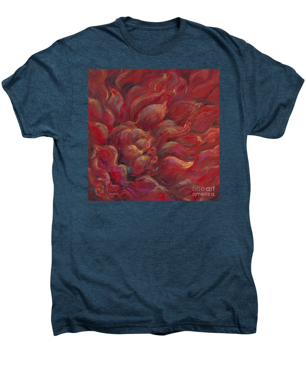 Red Men's Premium T-Shirt featuring the painting Passion V by Nadine Rippelmeyer