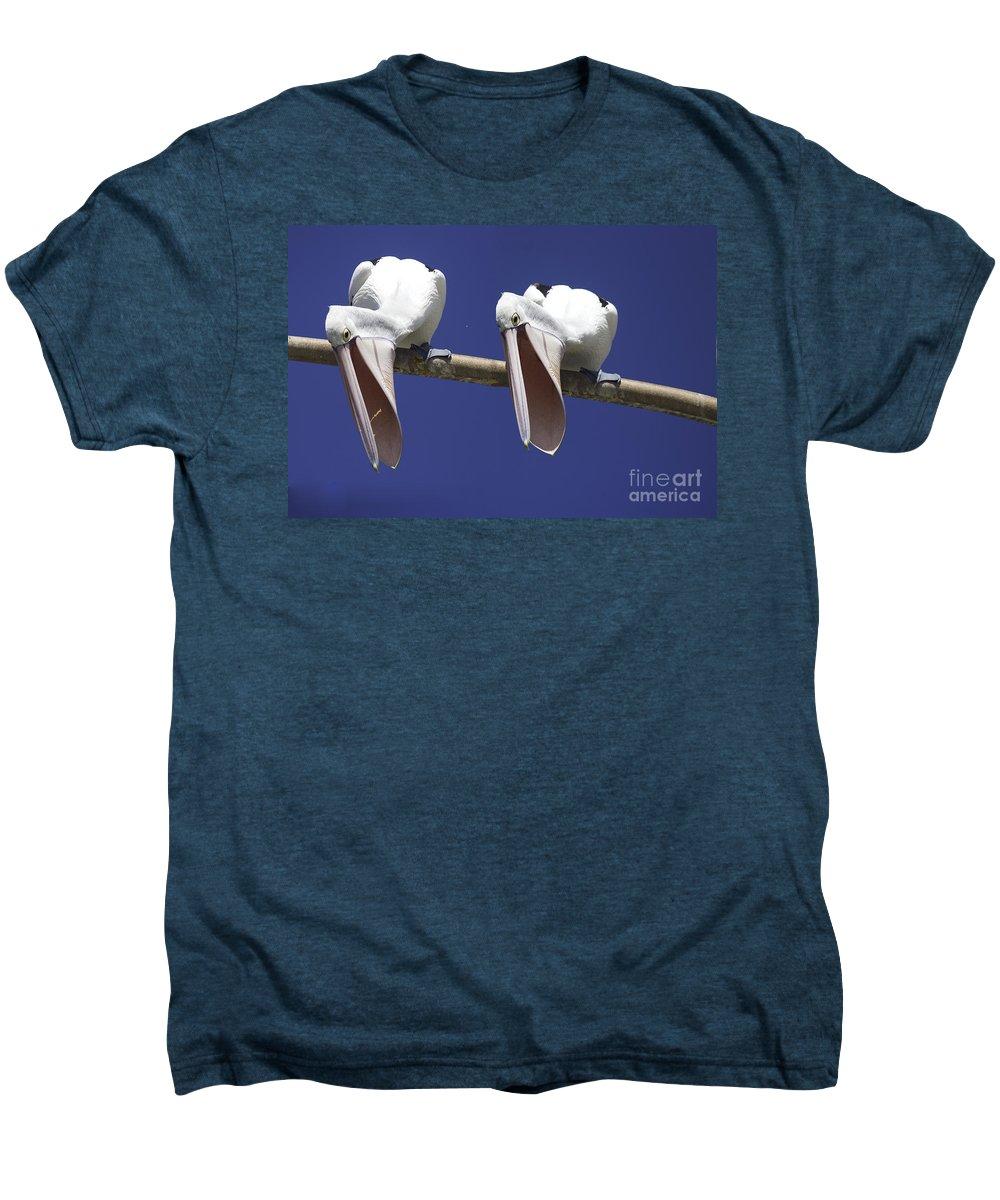 Pelican Men's Premium T-Shirt featuring the photograph Pelican Burp by Avalon Fine Art Photography