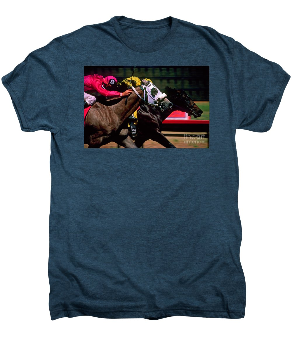 Horse Men's Premium T-Shirt featuring the photograph Photo Finish by Kathy McClure